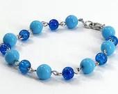 Blue Bubbles Beaded Bracelet