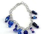 Blue Glass Bead Charm Bracelet, Gifts for Her, Gifts for Mom, Unique Gifts