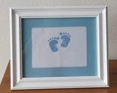Personalized Traditional Baby Blue Boy Feet Cross Stitch Framed Decor