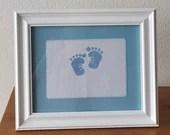 Personalized Traditional Baby Blue Boy Feet Cross Stitch Framed Decor