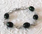 Green Black Glass Beaded Bracelet