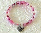 Heart Charm and Pink Beads Charm Bracelet