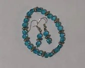 Teal Orb Stretch Bracelet and Dangle Earrings