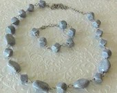 Gray Marble Chunky Beaded Necklace and Bracelet Jewelry Set