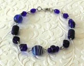 Blue Saturn Glass Beaded Bracelet