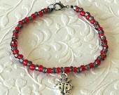 Lady Bug Charm Red and Black Beaded Bracelet