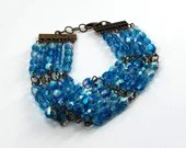 Blue Beaded Chandelier Fancy Bracelet