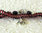 Black Widow Charm Red and Black Beaded Bracelet