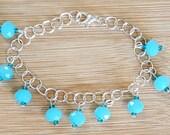 Blue Glass Beaded Bracele...