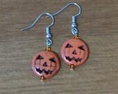 Jack-o-lantern Pumpkin Bead Dangle Earrings