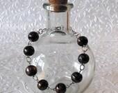 Black and Copper Galaxy Glass Beaded Women's Bracelet