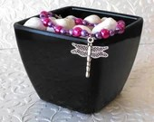 Dragonfly Pink and Purple Pearl Beaded Charm Bracelet