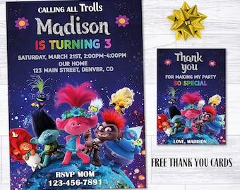 trolls invitation etsy