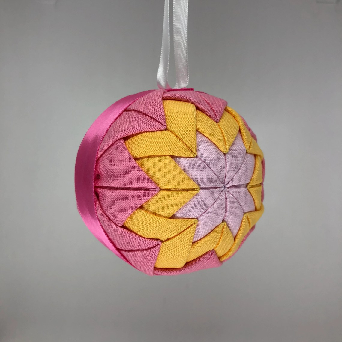 Pink and Yellow Fabric Christmas Holiday Ornament
