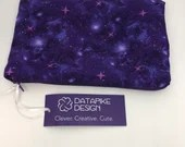 Flannel Lined Zipper Pouch Bag - Sparkly Purple Galaxy Fabric