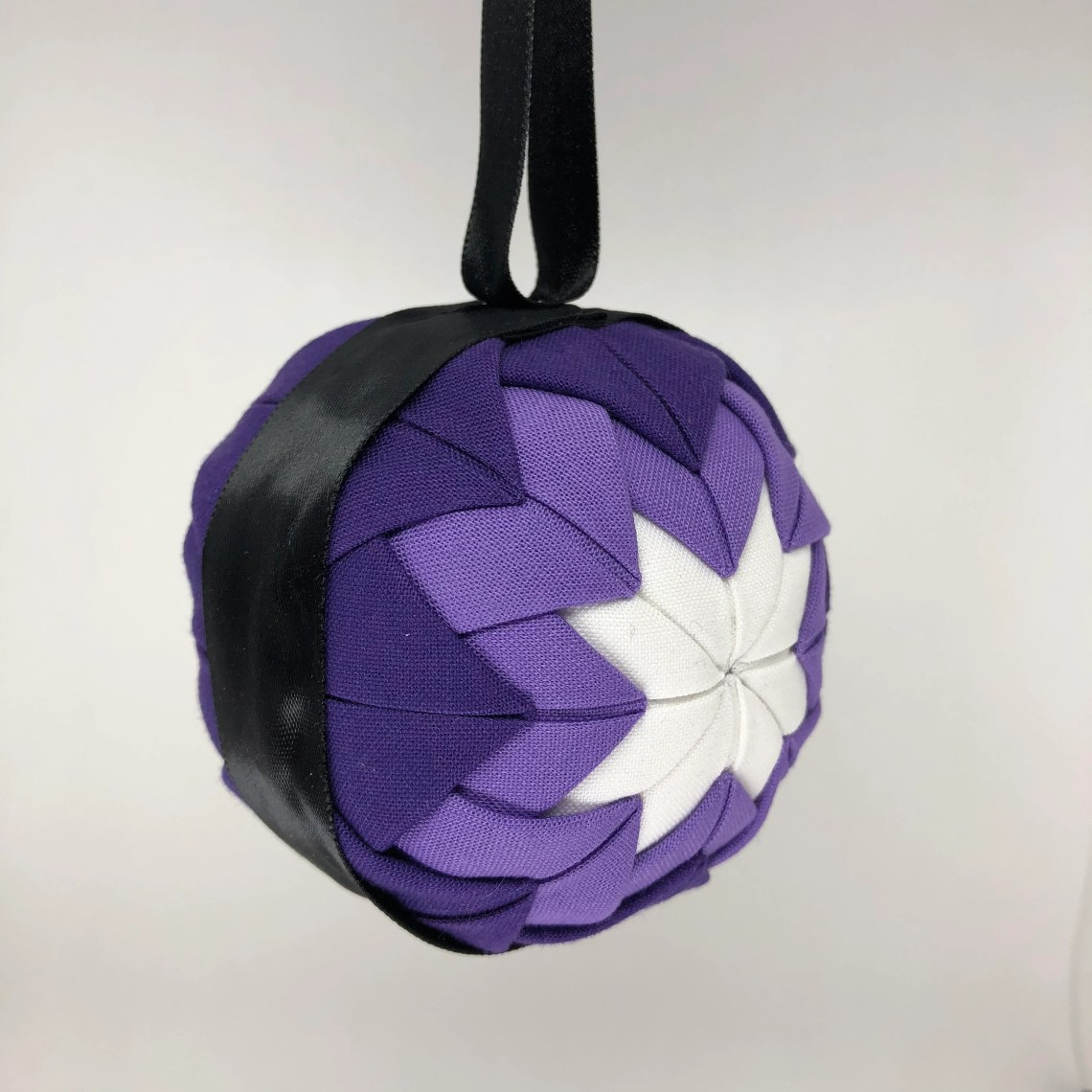 Purple and Black Fabric Christmas Holiday Ornament