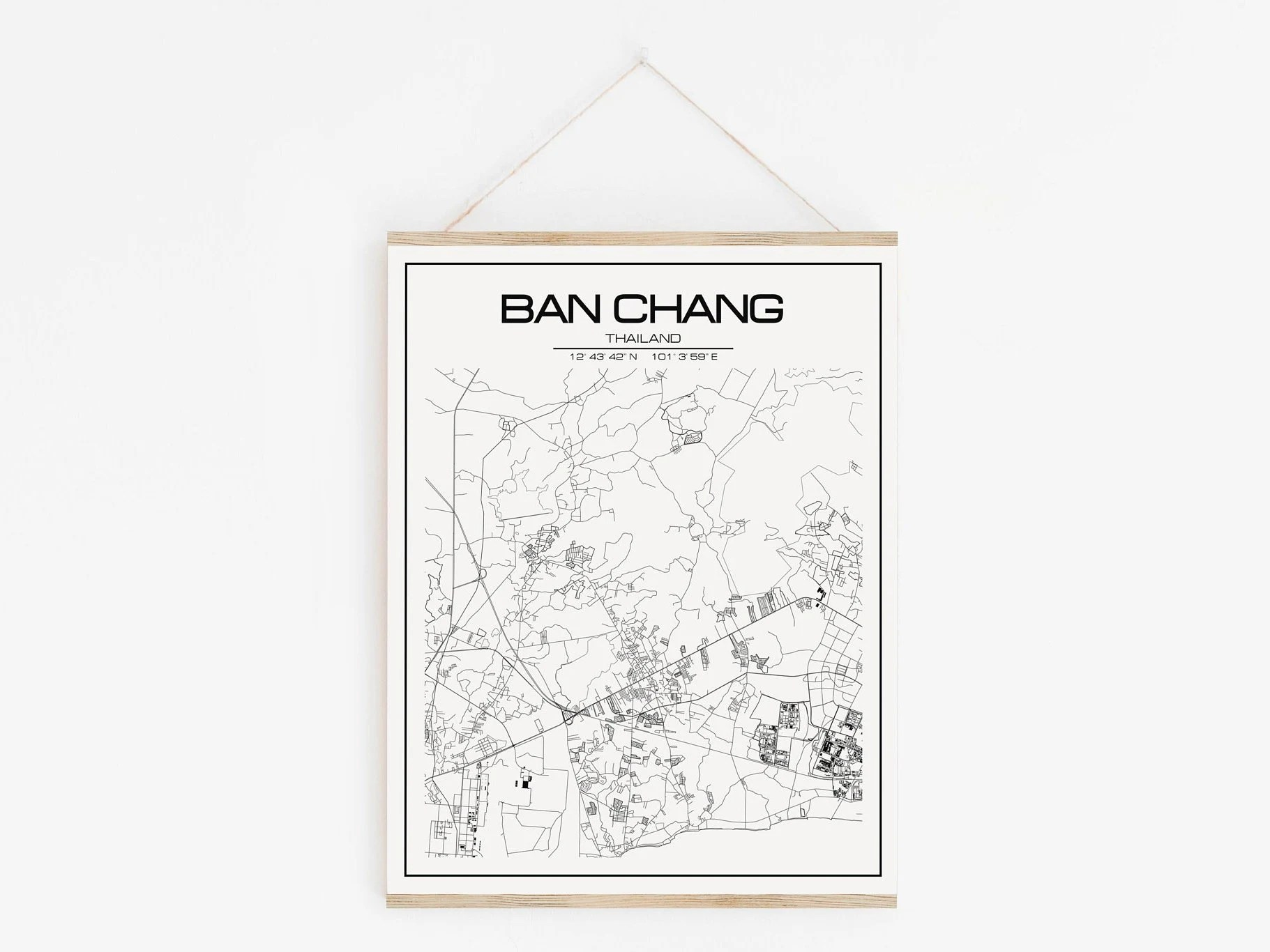 Ban Chang Map Poster Print Wall Art Thailand Gift Printable Download Modern Map Decor For Home And Nursery Personalized Map Custom Gift