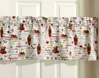 kitchen swags rustic round table country curtains etsy vintage chef valances valance shabby chic