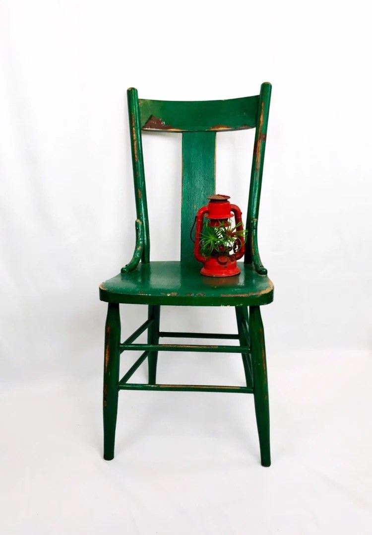 vintage wooden chairs fun for kids rooms antique wood chair etsy weathered kelley green distressed accent