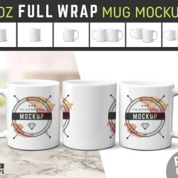 11 Oz Full Wrap Mug Mockup Blanks Coffee Cup Mockup White Etsy