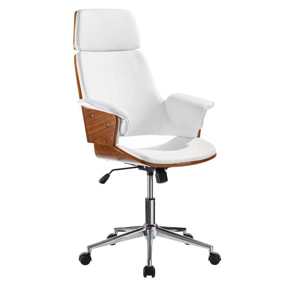 wood office chair upholstered dining room chairs revolving with industrial design made of etsy wheels and extendable height elegant steel synthetic leather