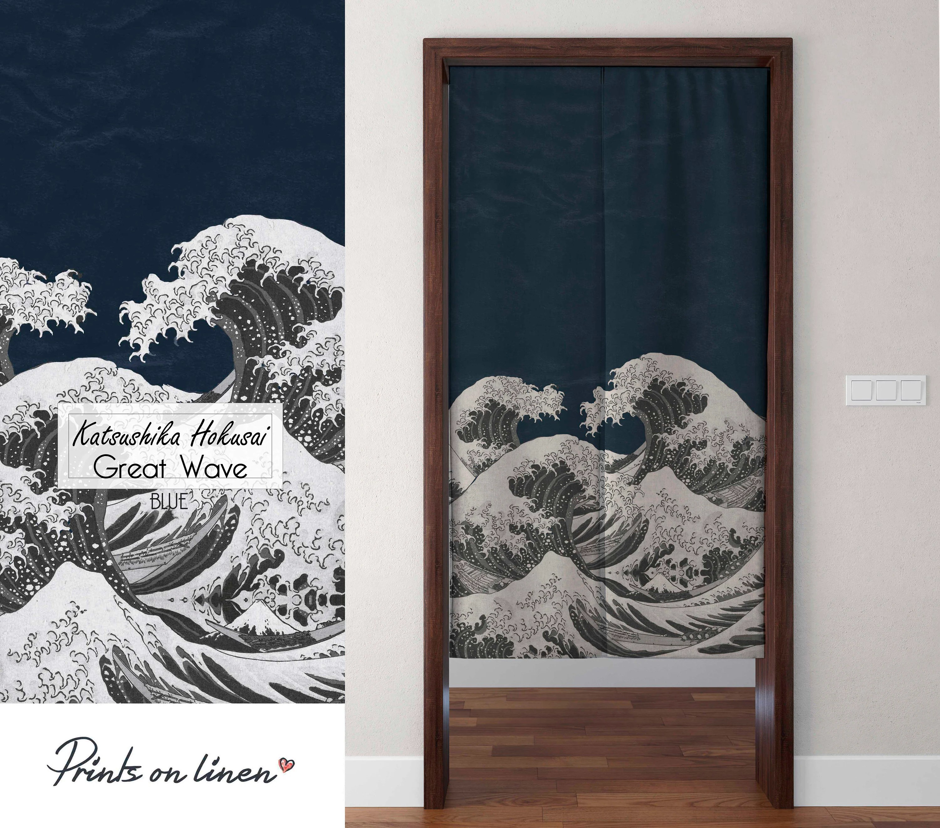 noren curtain the great wave japanese