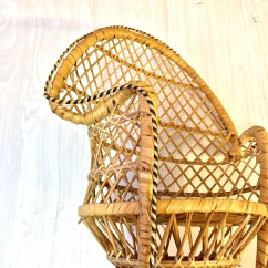 Vintage Peacock Chair Plastic Patio Table And Chairs Mini Wicker Rattan Zoom