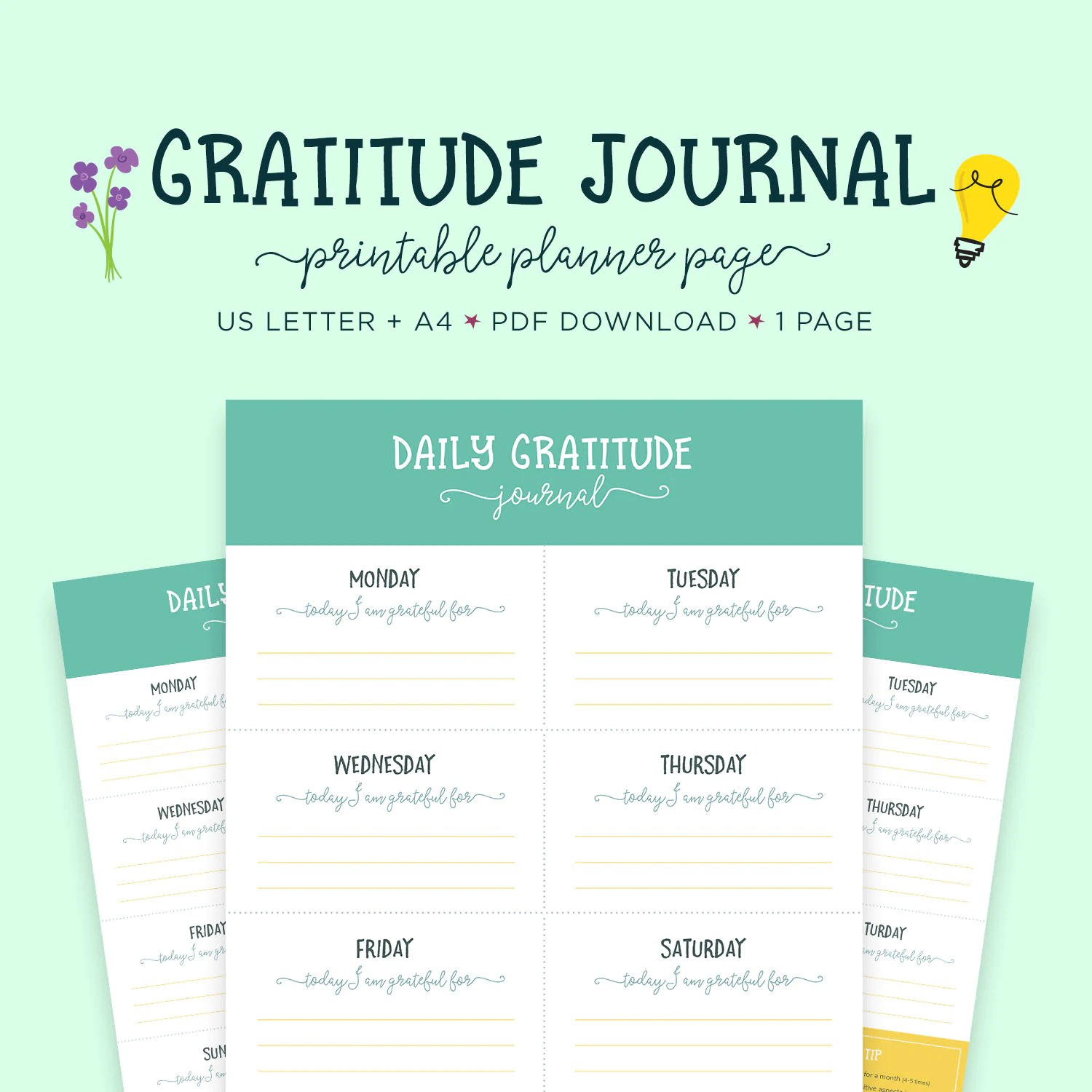 Gratitude Journal Printable Worksheet Happiness Planner