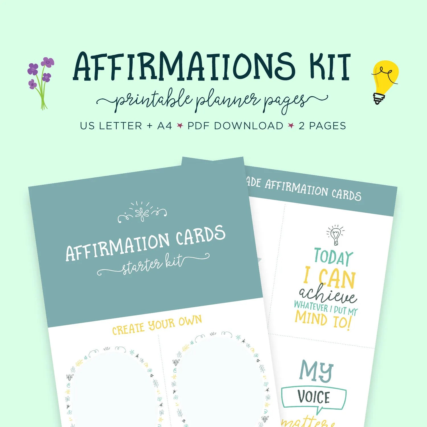 Affirmations Self Help Affirmation Cards Printable