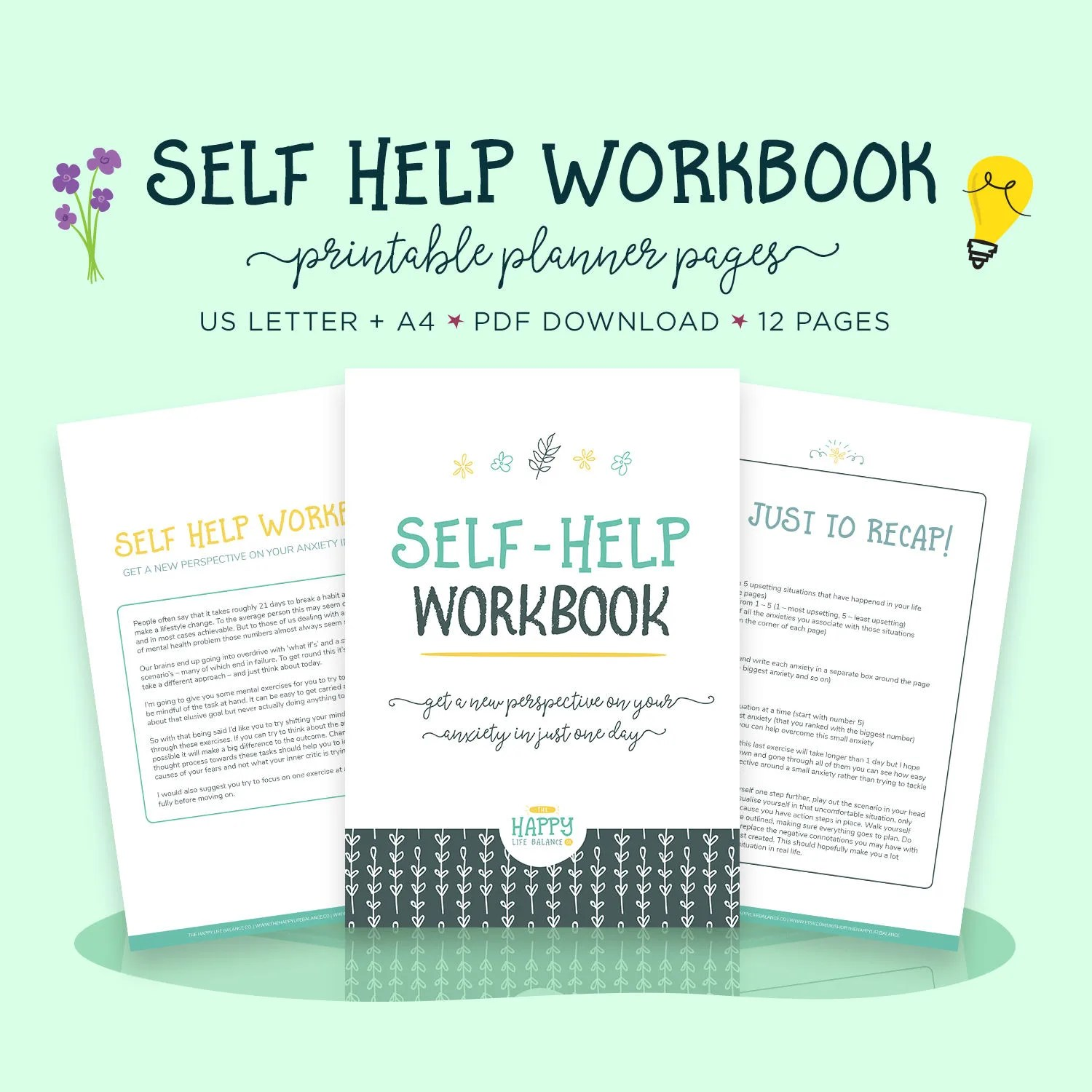Self Help Workbook Mental Health Anxiety Worksheet Ptsd