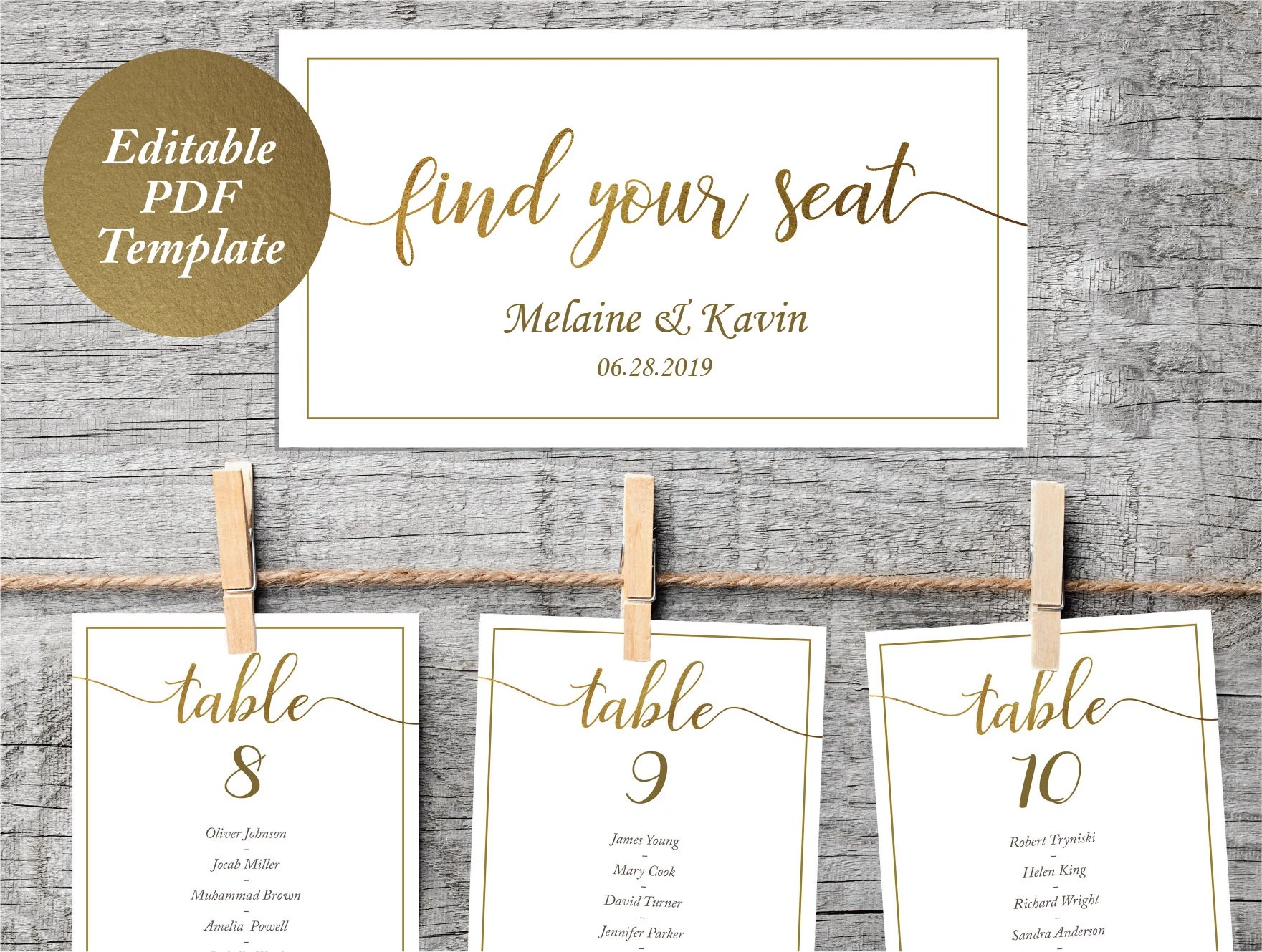 Foil gold wedding seating chart template set printable editable pdf templates table plan  event sign custom diy also etsy rh