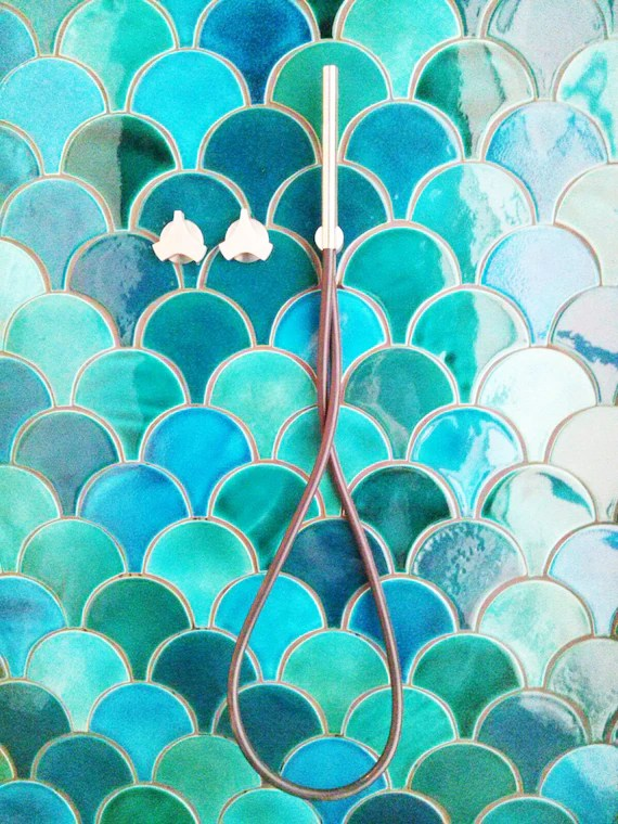 handmade ceramic mosaic tiles morocco fish scale light turquoise crackle and emerald green bathroom or kitchen tiles 89 pieces 1m2