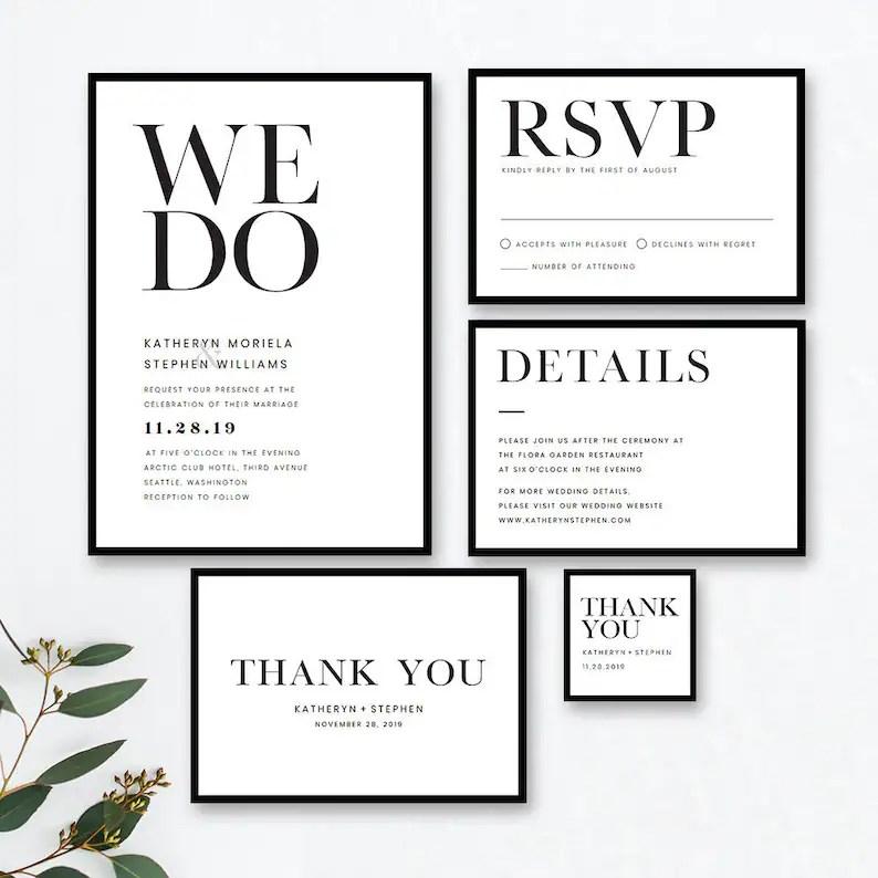 minimalist wedding invitation templates