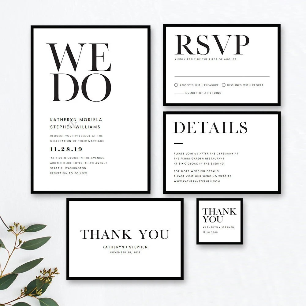 Minimalist Wedding Invitation Templates. Modern Black