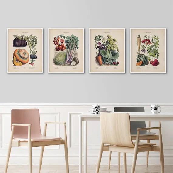 framed prints for kitchens farmhouse style kitchen table botanical set french vegetables art etsy image 0