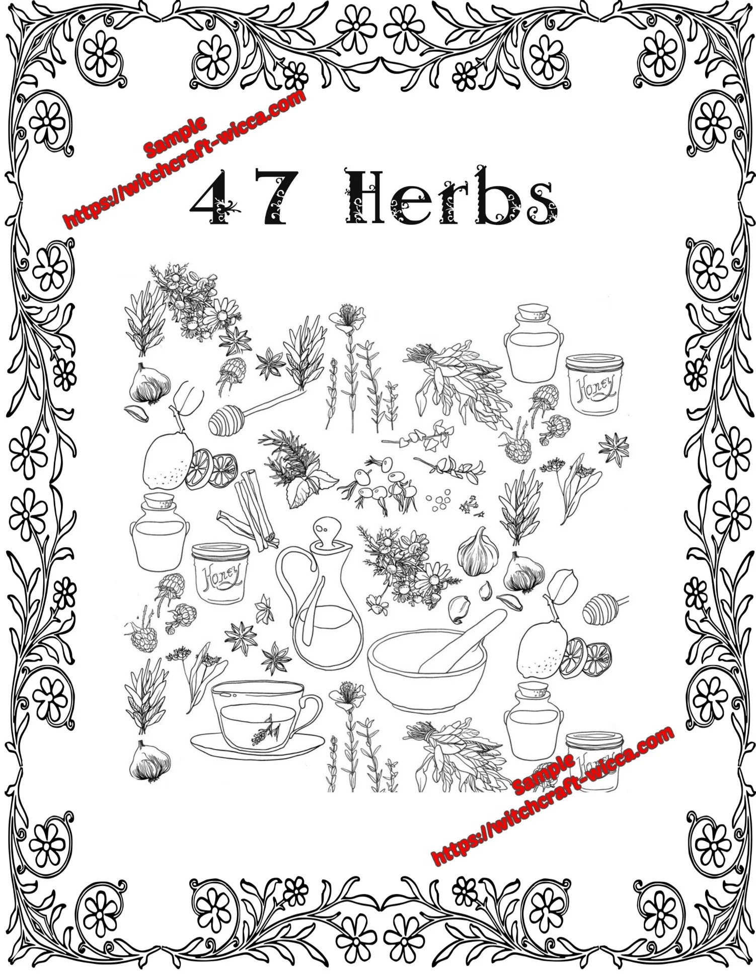 Coloring Book of Shadows 47 Herbs for Emotional and