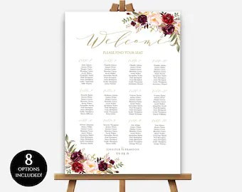 sizes wedding seating chart template editable table poster floral find your seat board also etsy rh