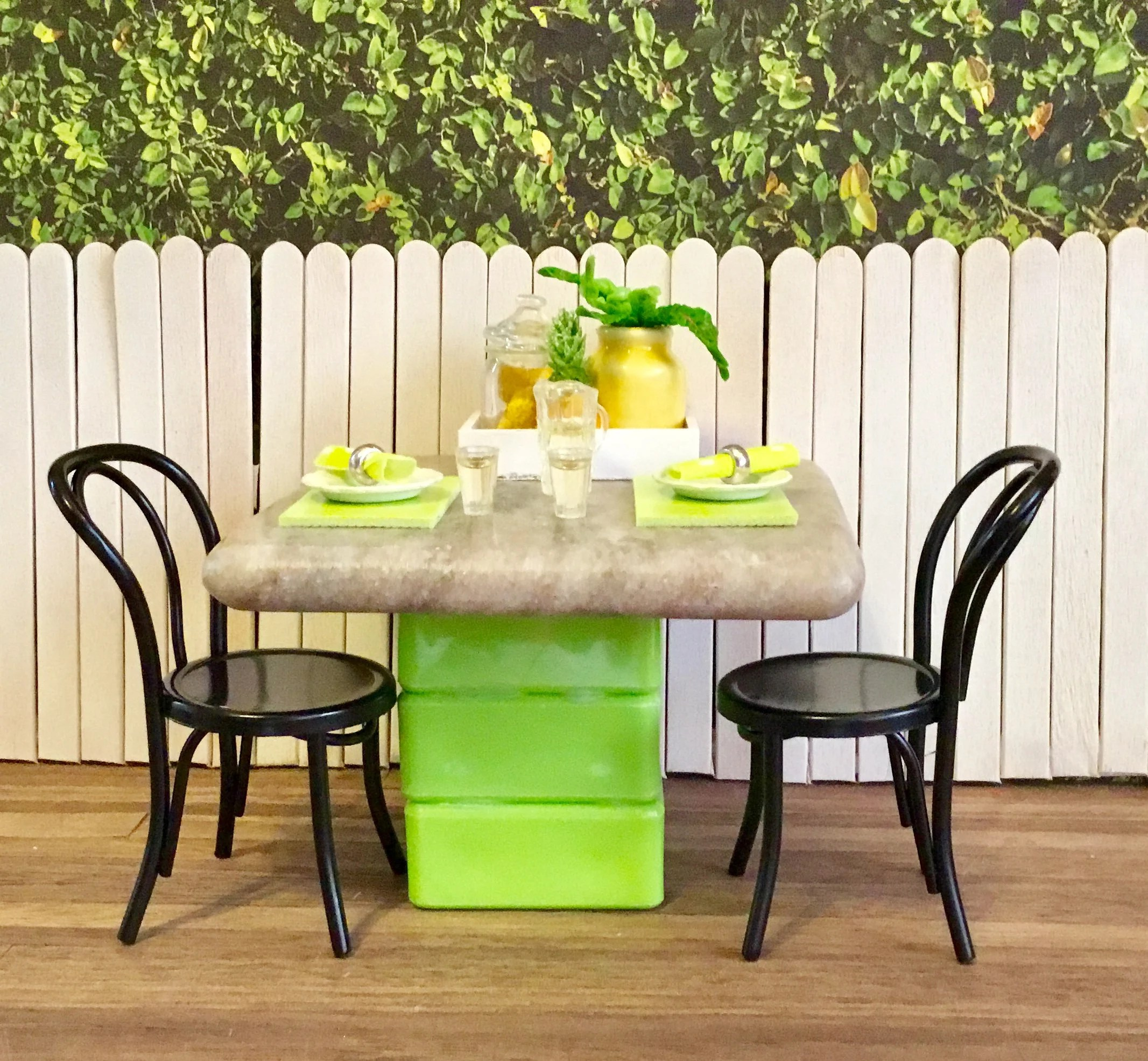 Lime Green Chairs Dollhouse Miniature Table Chairs Lime Green Placemats Cloth Napkins Water Pitcher Water Glasses Pineapple 1 12 Scale