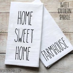 Kitchen Dish Towels Throw Rugs Washable Towel Etsy Rae Dunn Inspired Flour Sack Farmhouse Decor Home Sweet Gift