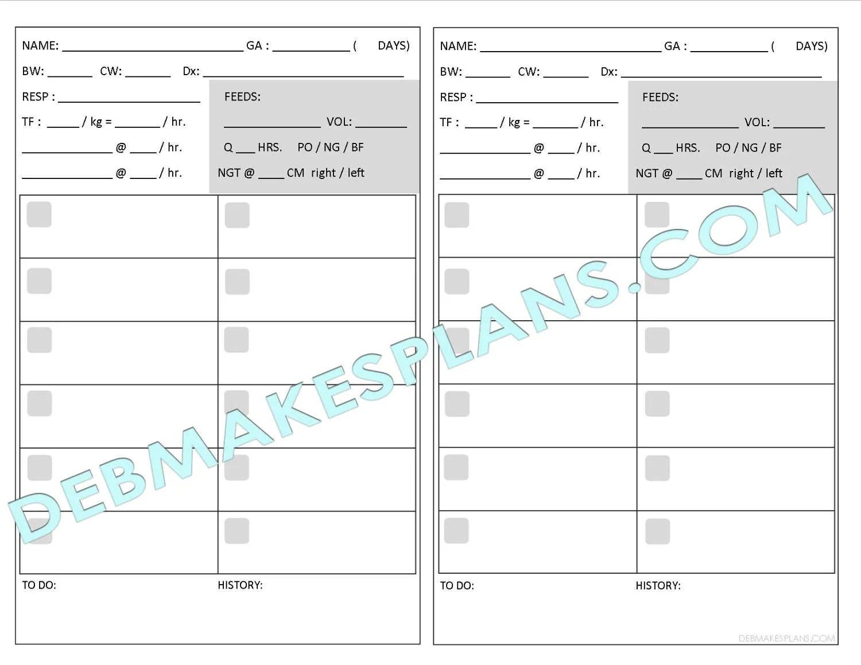 Nurse Assignment Sheet Printable