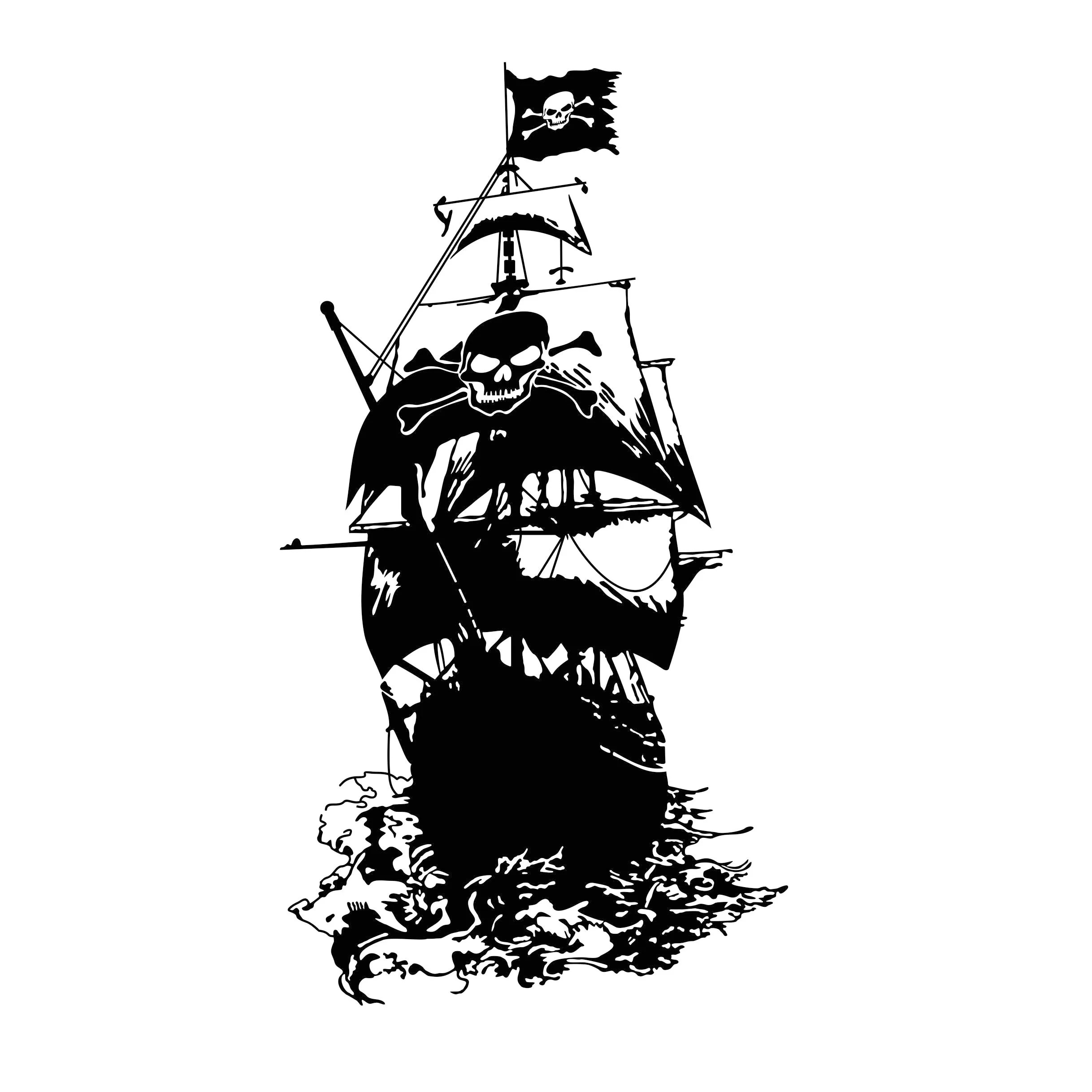 Pirate Ship Svg Viking Privateer Graphics Dxf Eps Cdr