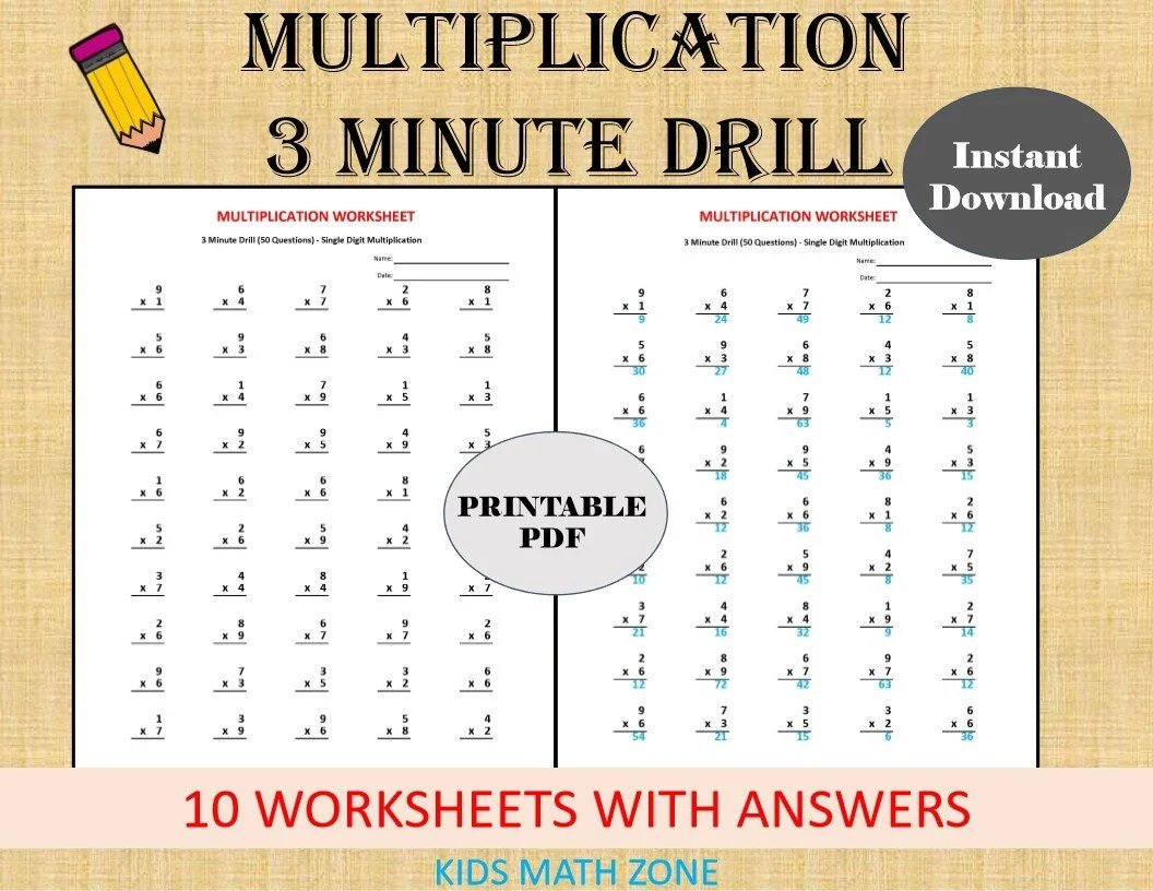 Multiplication 3 Minute Drill V 10 Math Worksheets With