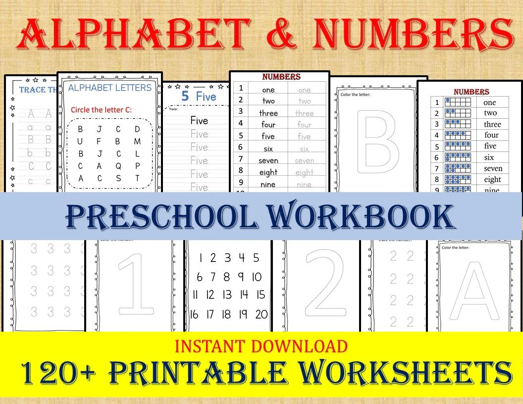 Alphabet Amp Numbers 120 Worksheets Preschool Worksheets