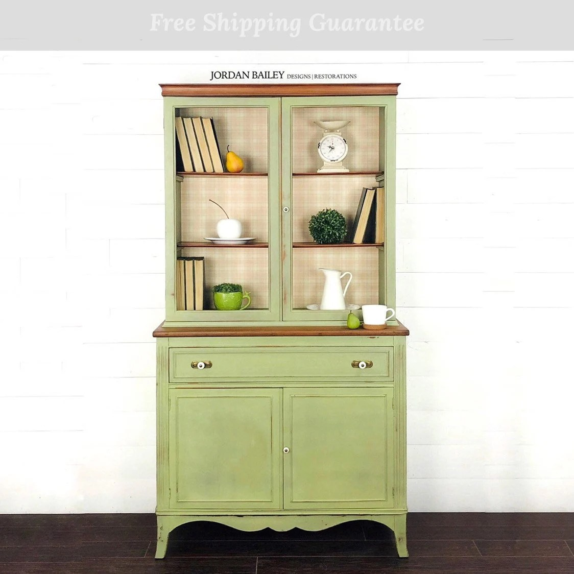 Farmhouse Hutch Antique Bookcase Rustic Country China Cabinet Dining Room Storage