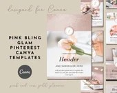 Pink Rose Gold Pinterest Canva Templates - Glamorous Bling - Feminine Brands, Glitter Paper, Pin Design Templates