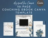 eBook & Workbook Coaching Canva Template Design - Boho Dragonfly - Plus Bonus 10 Pinterest and 10 Instagram Matching Canva Templates