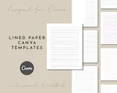 Canva Lined Paper Template in Plain and Rainbow Colors, Wide Width and Full Width Lined Paper, Margins and No Margin Paper