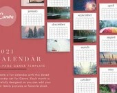 2021 Calendar Canva Template - 12 Month Dated Calendar - Calendar Planner, Monthly Calendar Pages