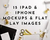 iPad Mockups Gold Styled Flat Lay Product Mockups eBook Mockups Cover Mockups PSD Templates