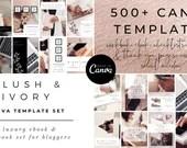500+ Canva Templates Workbook eBook Rose Gold Blush Ivory Set